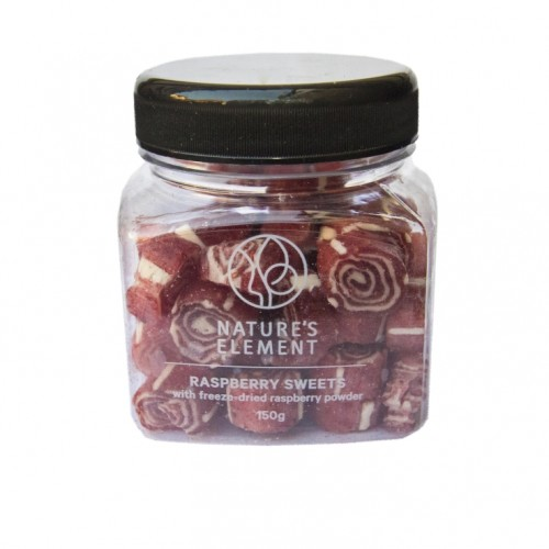 Hand made sweets with freeze dried raspberry powder